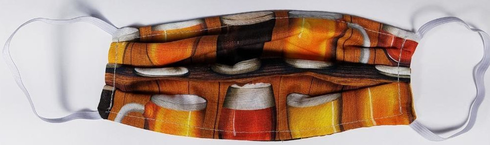 Beer themed designer face mask  Made in USA of 100% Cotton