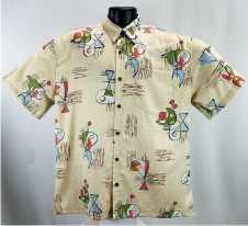 Mid-century Retro bark Cloth Hawaiian Aloha Shirt