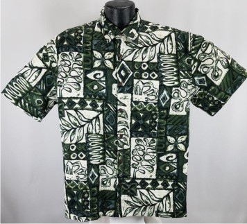 Traditional Tapa bark cloth Hawaiian shirt