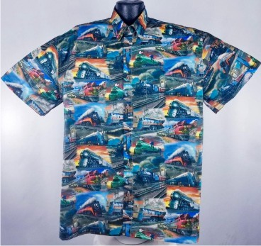 Train Travel Hawaiian aloha shirt