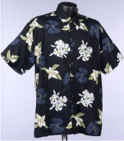 Black Plumeria Flower Hawaiian shirt