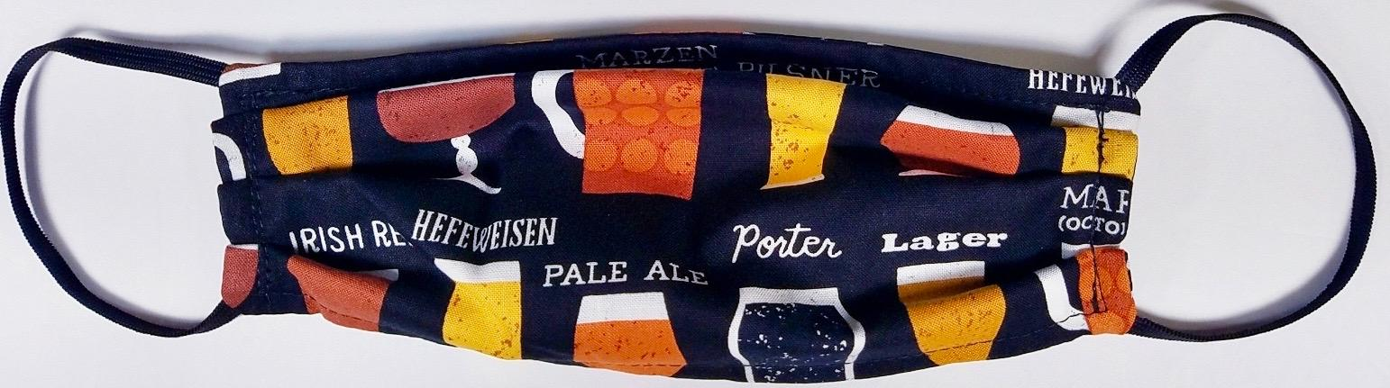 Craft Beer themed designer face mask  Made in USA of 100% Cotton