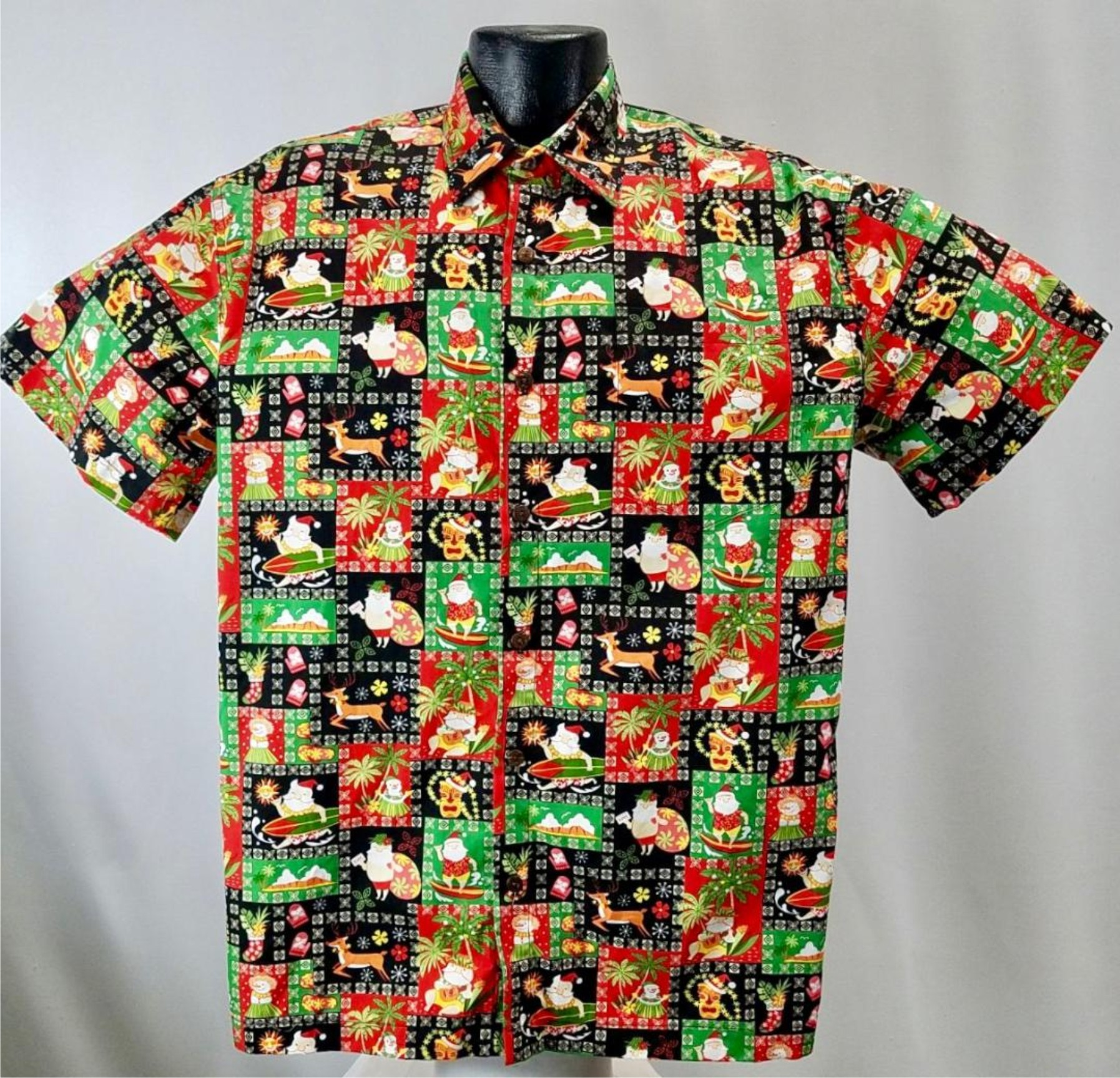 Christmas Hawaiian Shirts.Island Christmas Hawaiian Shirt Black