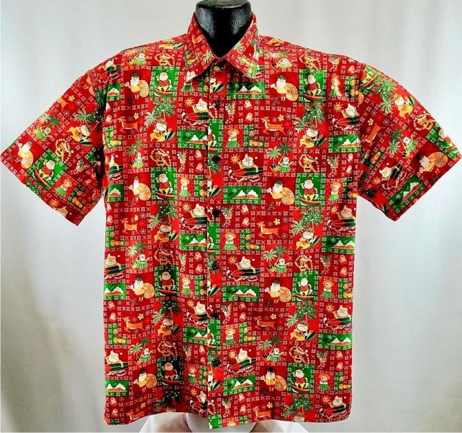 Christmas Hawaiian Shirts.Island Christmas Hawaiian Shirt Red
